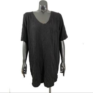 Roamans Plus Size Small V Neck Black Cotton Tee